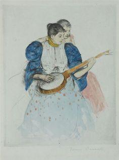 #Mary #Cassatt #etchings and #Thomas #Hart #Benton #mural #studies on view at #Kiechel #Fine #Arts, 1208 O  St. in #Lincoln, #Nebraska.  Shown: #Cassatt's #Banjo #Lesson