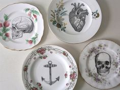 Vintage Anatomical Skull Plate Altered Art by TheLuckyFox on Etsy