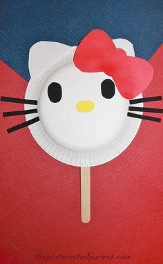 Hello Kitty paper plate mask & Chick chicken paper plate mask craft preschool pink puppet ...