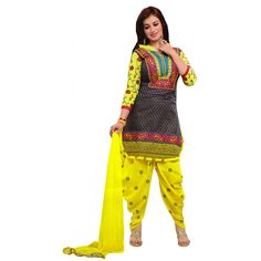 Fashionx Patiala Yellow heavy embroderied cotton unstitched dress material