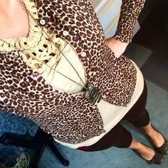 Leopard print cardigan.