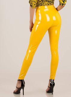Gloss Lady Faux Patent Skinny Pants YELLOW Skinny Pants, Yellow Black, How To Look Pretty, Patent Leather, Lady, How To Wear, Cotton, Fashion, Moda