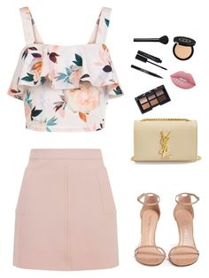 """""""Formal pink style"""" by rmsets ❤ liked on Polyvore featuring New Look, Topshop, Stuart Weitzman, Yves Saint Laurent, Lime Crime, NARS Cosmetics, Trish McEvoy, Smashbox and Gucci"""