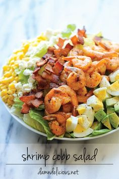 Shrimp Cobb Salad - A light, filling salad loaded with roasted shrimp, bacon bits, and avocado in a tangy, refreshing vinaigrette! salad recipe Shrimp Cobb Salad with Cilantro Lime Vinaigrette Low Carb Shrimp Recipes, Shrimp Salad Recipes, Salad With Shrimp, Shrimp Avocado Salad, Healthy Salads, Healthy Eating, Healthy Recipes, Cobb Salad, Beet Salad