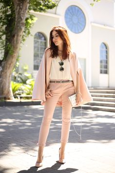 Casual chic look, wearing rose quartz pieces.