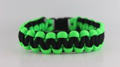 http://cheune.com/store Lime Green and Black Paracord Bracelet - 8 Inches