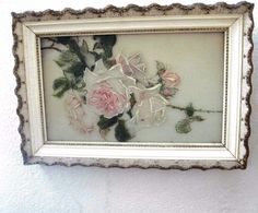 "Victorian Hand Painted Rose Painting On Glass 22"" x 15 1/2"" White Ornate Frame  #Realism"