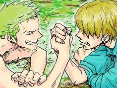 Zoro - Sanji. Techniquement, Sanji ne peut pas gagner un bras de fer contre Zoro. C'est ses jambes les plus fortes...