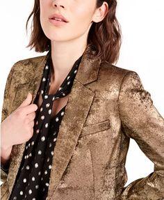 Bar III Metallic One-Button Blazer, Created For Macy's & Reviews - Jackets & Blazers - Women - Macy's Blazer Jackets For Women, Tech Gifts, Baby Sale, Mens Sale, Handbag Accessories, Pumps Heels, Black Friday, Blazers, Shoe Boots