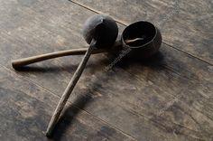 Thai vintage ladle on wood background - Stock Photo , Graphic Design Portfolio Examples, Wood Background, Birds In Flight, Kitchenware, Retro Vintage, Household, Stock Photos, Flying Birds, Kitchen Gadgets