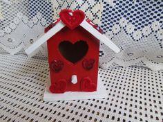 Valentine Heart Wood Unique Birdhouse Decorative by MesheleCrafts