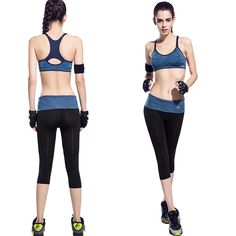 93d9446c4e Space Dyeing 2 Piece Women Yoga Sets Patchwork Fitness Padded Sport bra  Running Tights High Waist