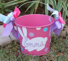 Personalized Easter Bucket 5 quart by GameDayGirlsandGifts on Etsy