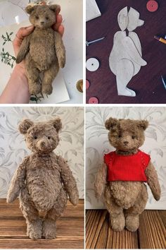 Plushie Patterns, Animal Sewing Patterns, Stuffed Animal Patterns, My Teddy Bear, Bear Toy, Peluche Winnie The Pooh, Teddy Bear Sewing Pattern, Teddy Bear Patterns Free, Gifts For Disney Lovers