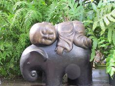 BUDDHA & ELEPHANT-Sturtz and Copeland - Garden Sculpture