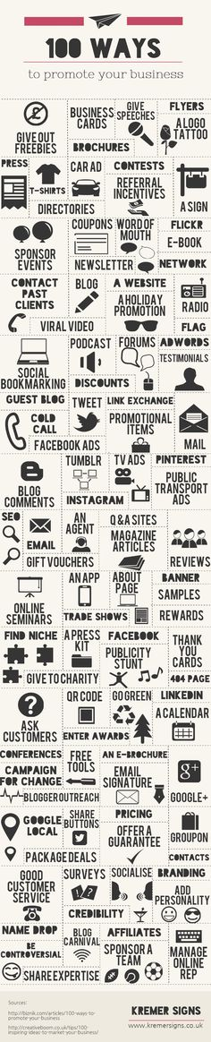 100 Ways to Promote Your Business #marketing #infographic