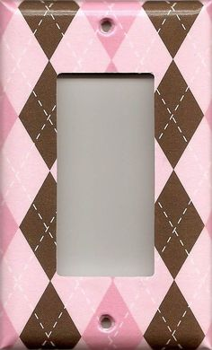 Light Pink & Chocolate Brown Argyle Diamonds Light Switch Plates & Outlet Covers
