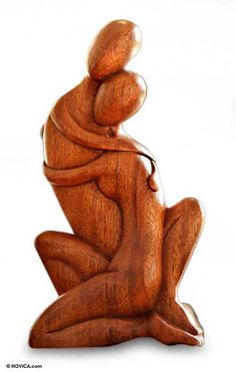 Romantic Wood Sculpture - Hold Me Close | NOVICA