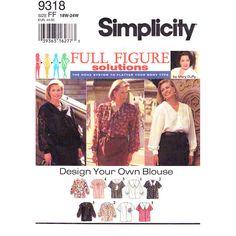 Plus Size Blouse Pattern Simplicity 9318 by finickypatternshop