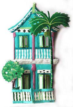 "Gingerbread House - Painted Metal Wall Art - Tropical Home Decor - Haitian Steel Drum Metal Design 17"""