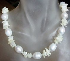 White Fresh Water Pearl c/w Sea Shell Chips Necklace  by camexinc, $20.00