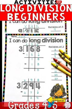 Long Division Worksheets Teaching Long Division doesn't have to be hard. These Long Division Activities are designed to be easy to follow and help 4th Grade Math Students master Long Division Steps and Strategies.<br> Long Division Practice Activities for Beginners! Are your students struggling to remember the steps of long division? These no-prep long division worksheets are fun for students and easy for teachers like you. Introduce and teach long division rules through these engaging…