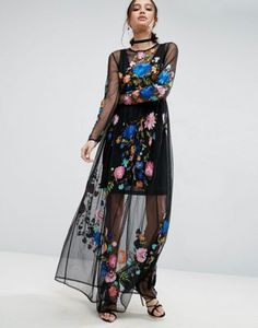 ASOS PREMIUM Maxi Dress in Pretty Embroidered Mesh