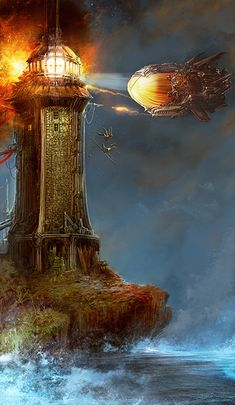The Tower by brass-and-steam. #steampunk #victorian #Art #gosstudio .★ We recommend Gift Shop: http://www.zazzle.com/vintagestylestudio ★