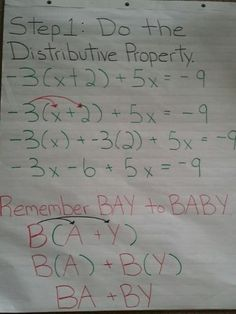6th Grade Middle School Math Concepts Distributive Property
