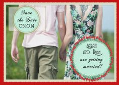 Custom Red Rose Save the Date Wedding by DigitalConfectionery, $15.00