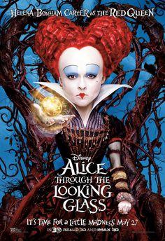 Alice Through the Looking Glass Helena Bonham Carter as the Red Queen Poster Film Tim Burton, Tim Burton Characters, Queen Alice, Disney Movie Posters, Retro Poster, The Lone Ranger, Helena Bonham, Walt Disney Pictures, Walt Disney Studios