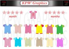 Baby-grow Clipart Set (various colors) in high quality PNG format. Personal & Small Commercial use