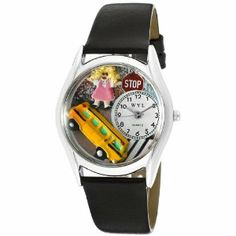 Whimsical Watches Women's S0640012 School Bus Driver Black Leather Watch Whimsical Watches. $37.53