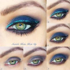 This gorgeous night out look features deep blue smoky eye shadow with glittery blue eyeliner as a unique accent. DIY with the pictorial and products listed here.