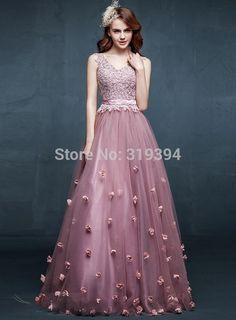 >> Click to Buy << robe de soriee 2017 Popular Pink V-Neck Long Bridesmaid Dresses Flowers Wedding Party Gowns vestidos de para festa Custom Made #Affiliate