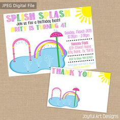 Summer Birthday party for a girl. Splash pad party. End of school party. Birthday Party Invitation. Splash pad party invite. Splish splash birthday bash. Park party. Pink birthday invitation. $15.00 Joyful Art Designs.