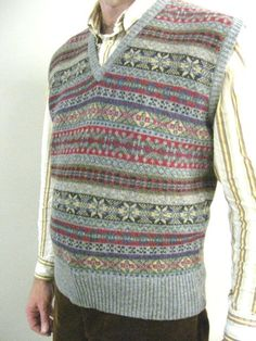 Our Lambswool Fair Isle Slipovers are made for us in Scotland. Fair Isle Knitting Patterns, Knitting Designs, Norwegian Knitting, Knit Vest, Sweater Vests, Knitting Accessories, Knitting For Kids, Lace Knitting, Menswear