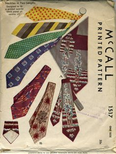 vintage necktie advertisment | Mccall's 1517 Neckties in two lengths © 1949