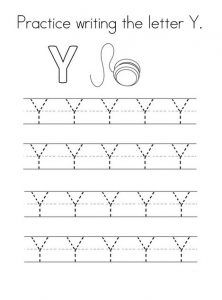 Practice Writing The Uppercase Letter Y Worksheet For 1st Grade