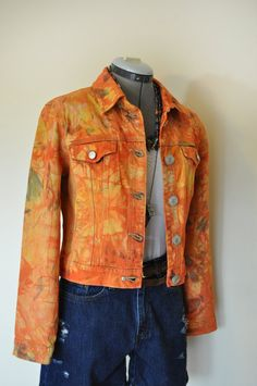 Orange Medium Denim Jacket Yellow Orange Hand by DavidsonStudio, $37.00
