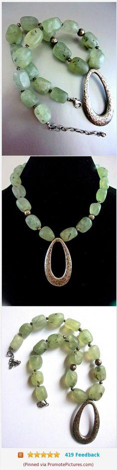 Natural Green Chrysoprase Sterling Necklace, Organic Formed Stones, Vintage #necklace #sterlingsilver #green #chrysoprase #gemstone #vintage https://www.etsy.com/RenaissanceFair/listing/531693349/natural-green-chrysoprase-sterling?ref=listing-shop-header-0  (Pinned using https://PromotePictures.com)