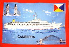 Canberra P & O Cruise Ship Souvenir Tea Towel -  Vintage SS Canberra Sydney Harbour Bridge - Tourist Holiday - New Old Stock United Kingdom by FunkyKoala on Etsy