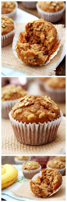 Banana Oatmeal Raisin Muffins. Healthy, light, and wholesome breakfast muffins. It packs all the nutrients you need for the day | rasamalaysia.com
