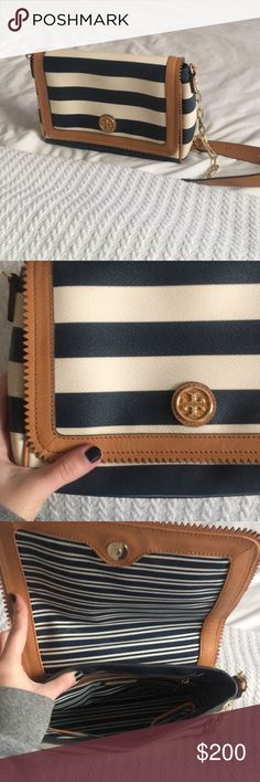 Rare TORY BURCH blue & white striped bag Amazing condition - adjustable leather & chain strap, can be worn as a cross body bag if you want. Hard to find color combination; super high quality leather and very clean. Only used a couple times. Tory Burch Bags