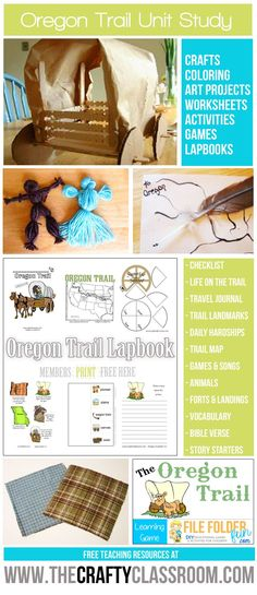 Free Oregon Trail Unit Study Resources.  Find Crafts, Activities, Games, Lapbooking Elements and more, free at The Crafty Classroom