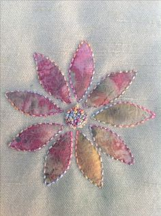 Sample of hand stitched Shadow Applique,using my favourite dyed threads