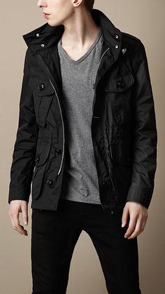 Lightweight Leather Trim Field Jacket | Burberry