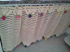 cortina de croche para pia de cozinha
