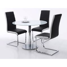 falko round glass dining table with 4 top dining chairs in black