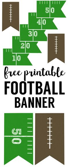This DIY football banner printable is easy and simple for your super bowl party or kids football party. (fall crafts for kids free printables) Kids Football Parties, Football Party Decorations, Football Banquet, Football Tailgate, Free Football, Football Themes, Football Birthday, Sport Football, Football Season